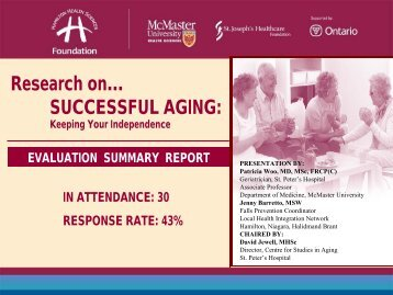 Research on? SUCCESSFUL AGING: - Hamilton Health Sciences