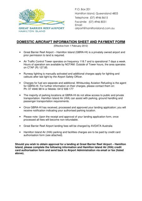 domestic aircraft information sheet and payment form ...