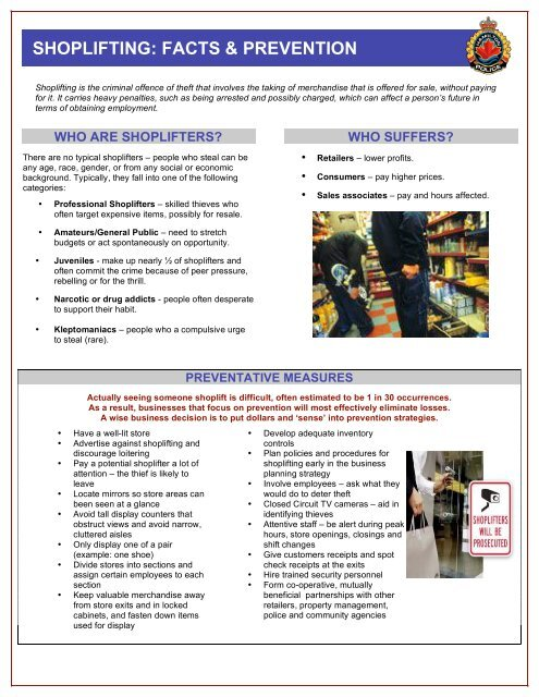 SHOPLIFTING: FACTS & PREVENTION - Hamilton Police Services