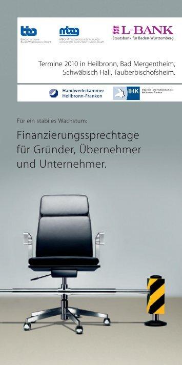 Finanzierungssprechtage für Gründer, Übernehmer und Unternehmer.