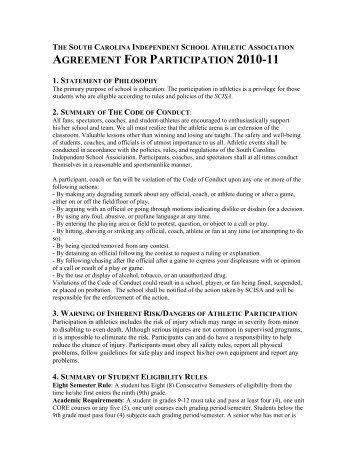 AGREEMENT FOR PARTICIPATION 2010-11 - Hammond School