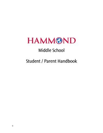 Middle School Student / Parent Handbook - Hammond School