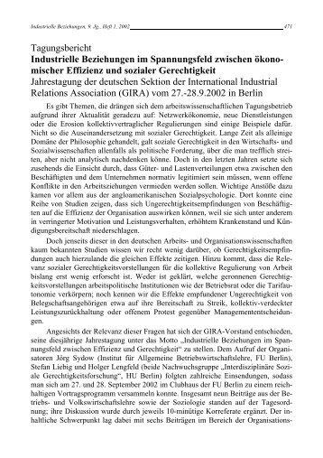 Tagungsbericht - Rainer Hampp Verlag