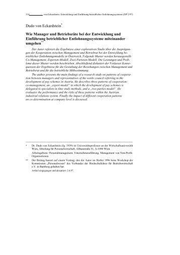 Dudo von Eckardstein Wie Manager und Betriebsräte bei der ...