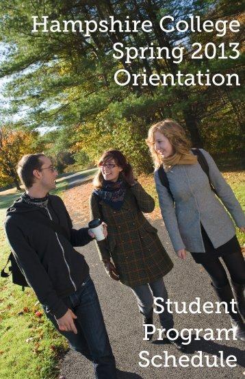 Hampshire College Spring 2013 Orientation Student Program ...