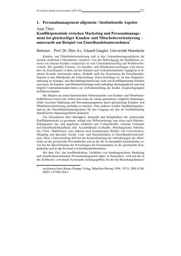 Personalforschung an Hochschulen - Rainer Hampp Verlag