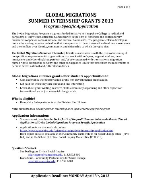 global migrations summer internship grants 2013 - Hampshire