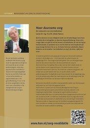 Omslag en achterkant publicatie 'Naar duurzame zorg, de ...