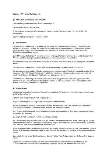 Satzung HMV Hanau Marketing e - Hanau Marketing Verein eV