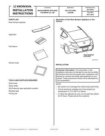 Rear bumper applique - H and A Accessories