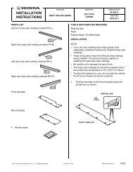 INSTALLATION INSTRUCTIONS - Bernardi Parts