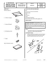 INSTALLATION INSTRUCTIONS - H and A Accessories