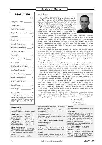 In eigener Sache Inhalt 2/2000 - Handballpost