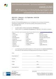 Anmeldung per Fax - Tysk-Svenska handelskammaren