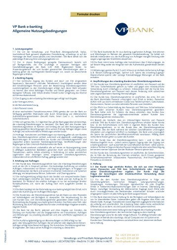 VP Bank e-banking Allgemeine Nutzungsbedingungen