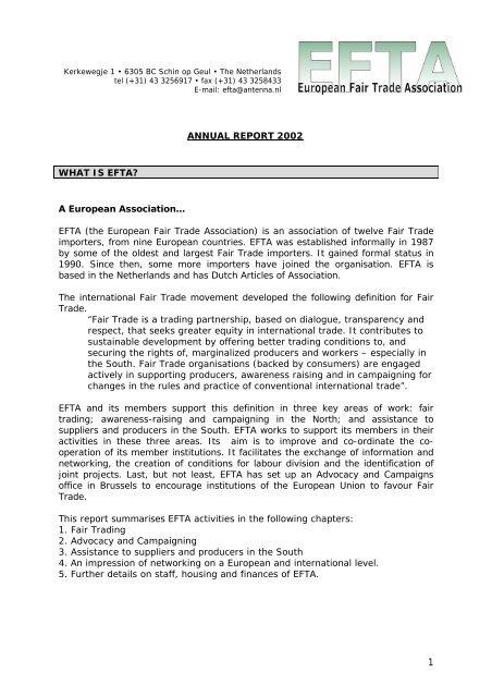 Annual report 2002 - European Fair Trade Association