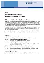 Einladung_Auslandsmessen Dez 2012 - Galerie Handwerk Koblenz