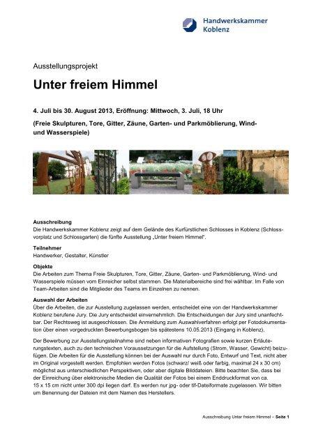 Weitere Informationen finden Sie hier - Galerie Handwerk Koblenz