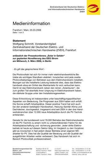 Das ungekürzte Statement von ZVEH-Vorstandsmitglied Wolfgang ...