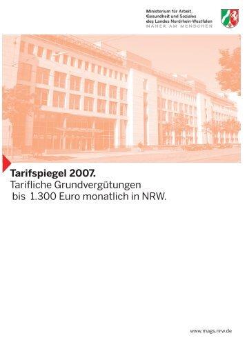Tarifspiegel 2007. Tarifliche Grundvergütungen bis 1.300 Euro ...