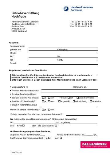 Brief auf Briefpapier - Handwerkskammer Dortmund