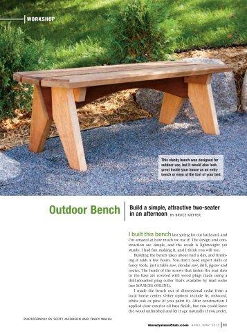 Outdoor Bench - Handyman Club of America