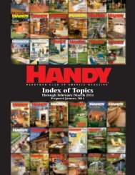 HANDY INDEX – February/March 2011 - Handyman Club of America