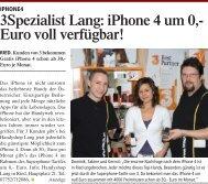 3Spezialist Lang: iPhone 4 um 0,- Euro voll verfügbar! - Handyshop