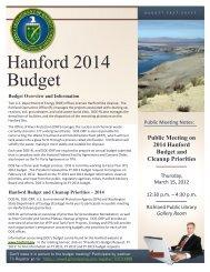 Hanford 2014 Budget Fact Sheet - Hanford Site