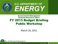 RL FY 2013 Budget Briefing Public Workshop - Hanford Site
