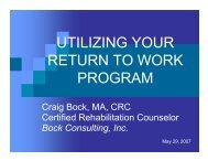 UTILIZING YOUR RETURN TO WORK PROGRAM - Hanford Site