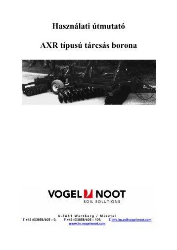 Használati útmutató AXR típusú tárcsás borona - Hanki-Ker Kft.