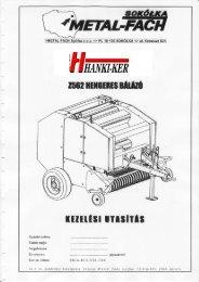 Metal-Fach Z-562 körbálázó kezelési útmutató - Hanki-Ker Kft.