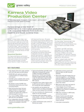 Karrera Video Production Center - Grass Valley