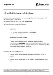 Helpsheet 53 Lift and Stairlift Insurance Policy Cover - Hanover