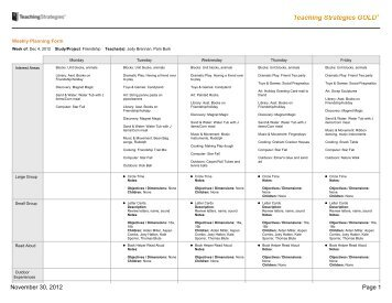 teaching strategies gold lesson plan template - calendar lesson plan objectives newcalendar