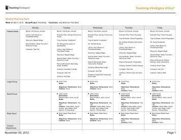 teaching strategies gold lesson plan template calendar lesson plan objectives newcalendar