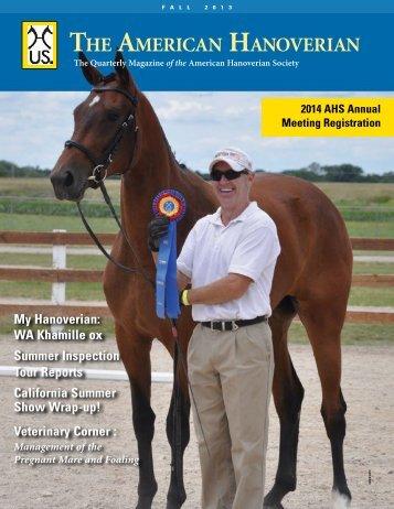 Fall 2013 - the American Hanoverian Society!