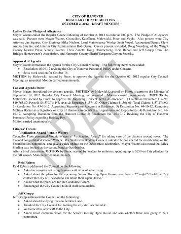 10/02/12 DRAFT Council Minutes - Hanover