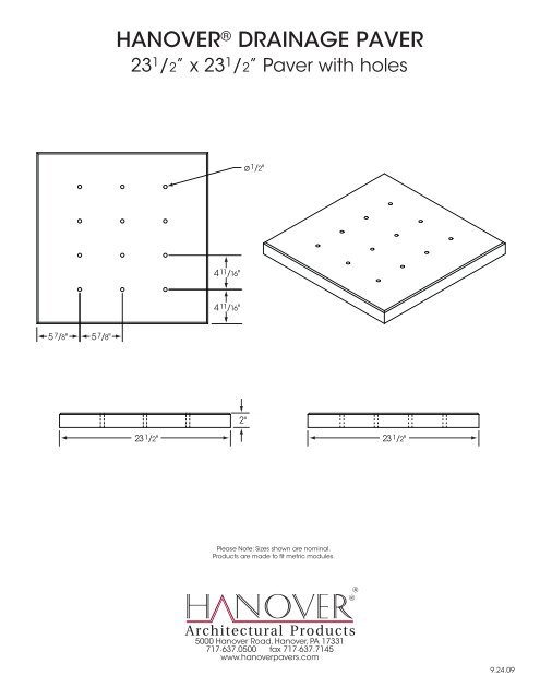 1201 - Drainage Pavers (A-E) - Hanover® Architectural Products