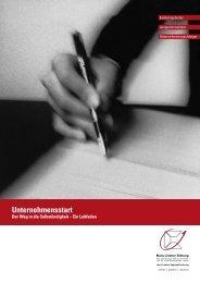Leitfaden Unternehmensstart - Hans Lindner Stiftung