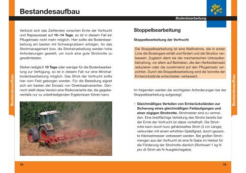 Bestandesaufbau - Stoppelbearbeitung - HANSA Landhandel