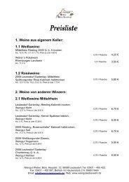Preisliste 1. Weine aus eigenem Keller - Weingut Michael Weber
