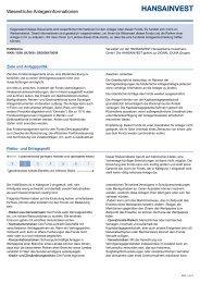 Wesentliche Anlegerinformationen - Hansainvest
