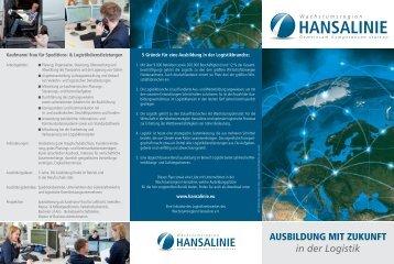 """Flyer """"Ausbildung mit Zukunft in der Logistik"""" - Hansalinie"""