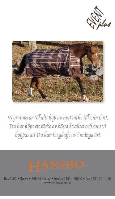 hansbo täcke häst