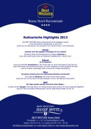 Kulinarische Highlights 2013 - Best Western Hanse Hotel