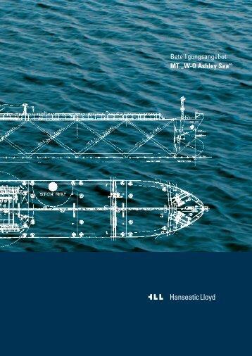 """Beteiligungsangebot MT """"W-O Ashley Sea"""" - bei Hanseatic Lloyd"""