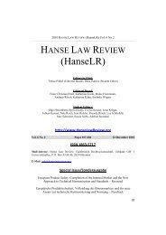 Hanse Law Review Vol. 6 No. 2 - Content