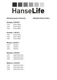 Rahmenprogramm HanseLife Marktplatz Bremen Halle 1 Samstag ...